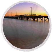 A Biloxi Pier Sunset - Mississippi - Gulf Coast Round Beach Towel