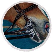 A Bit Of Control - Horse Bridle Painting Round Beach Towel