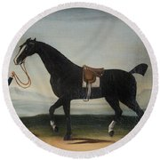 A Black Horse Held By A Groom Round Beach Towel