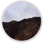 A Bleak Burned Slope In The Foothills Of The Southwest Sierra Nevadas Round Beach Towel