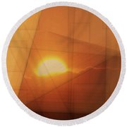 A Blended Sunset   Round Beach Towel