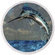 A Blue Marlin Flashes Its Iridescent Round Beach Towel