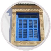 A Blue Window In Morocco Round Beach Towel