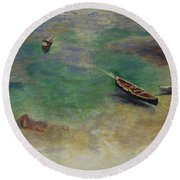 A Boat In The Waters Off Capri Round Beach Towel