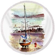 A Boat On Anglesey 01 Round Beach Towel