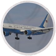 A Boeing C-32a Of The 89th Airlift Wing Round Beach Towel