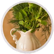 A Bouquet Of Fresh Herbs In A Tiny Jug Round Beach Towel