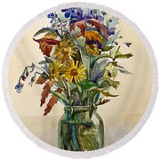 A Bouquet Of Wild Flowers In A Glass Jar. Round Beach Towel