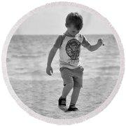 A Boy And His Beach Round Beach Towel