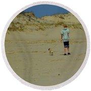 A Boy And His Pug Round Beach Towel