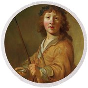 A Boy In The Guise Round Beach Towel
