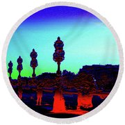 A Bridge Darkly 1 Round Beach Towel