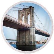 New York Bridge Round Beach Towel