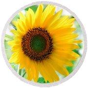 A Bright Yellow Sunflower Round Beach Towel