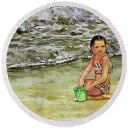A Bucket Full Of Ocean Round Beach Towel