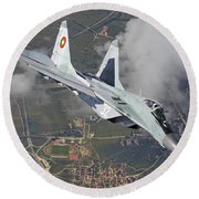 A Bulgarian Air Force Mig-29 In Flight Round Beach Towel
