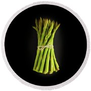 A Bunch Of Fresh Asparagus. Round Beach Towel
