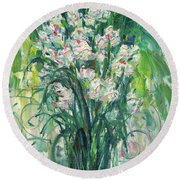 A Bunch Of Orchid Paintings Round Beach Towel