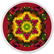 A Burst Of Flowers Kaleidoscope Round Beach Towel