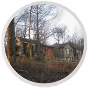 A Cabin On The Hill Round Beach Towel