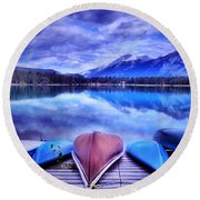 A Calm Afternoon At Lake Edith Round Beach Towel