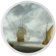 A Calm Sea With A Man Of War And A Fishing Boat Round Beach Towel