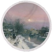 A Canal Scene In Winter  Round Beach Towel by Anders Anderson Lundby