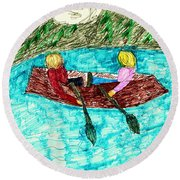 A Canoe Ride Round Beach Towel by Elinor Rakowski