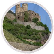 A Castle Among The Vineyards Round Beach Towel