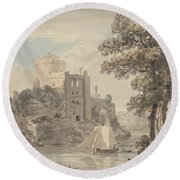 A Castle On A River Round Beach Towel
