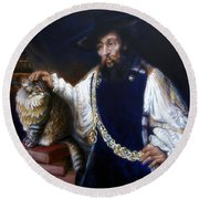 A Cat For Rembrandt_ Aristotle Caresses Calliope Round Beach Towel
