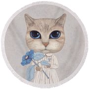 A Cat With A Blue Flower Round Beach Towel