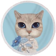 A Cat With A Blue Flower On White Round Beach Towel