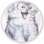 A Cat With Glasses Round Beach Towel