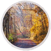 A Change Of Seasons On Forbidden Drive Round Beach Towel