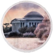A Cherry Blossom Dawn Round Beach Towel by Lois Bryan
