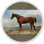A Chestnut Hunter In A Landscape Round Beach Towel