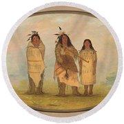 A Cheyenne Chief His Wife And A Medicine Man Round Beach Towel
