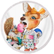 A Child Deer And Squirrel At The Summer Festival Round Beach Towel
