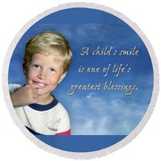 A Child's Smile Round Beach Towel