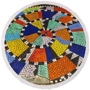 A Chip Off The Ole Mosaic Round Beach Towel