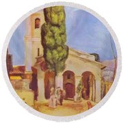 A Church At Cagnes Round Beach Towel