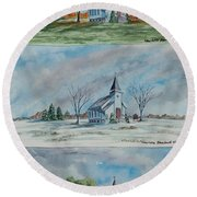 A Church For All Seasons Round Beach Towel