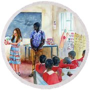 A Classroom In Africa Round Beach Towel