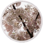 A Cloud Of Pastel Pink Cherry Blossoms Celebrating The Arrival Of Spring  Round Beach Towel