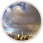 A Cloudscape And Its Cityscape Round Beach Towel