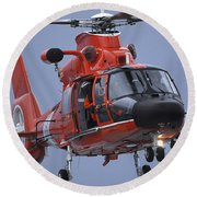 A Coast Guard Mh-65 Dolphin Helicopter Round Beach Towel by Stocktrek Images