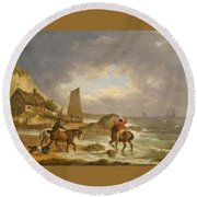 A Coastal Landscape Of The Isle Of Wight With Figures On Horse Back Near A Cottage Round Beach Towel