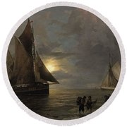 A Coastal Landscape With Sailing Ships By Moonlight Round Beach Towel