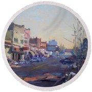 A Cold Sunny Day At Webster St Round Beach Towel